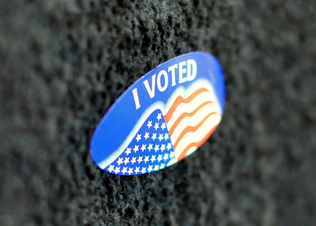 close up of I voted sticker