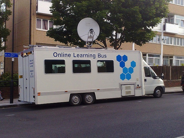 online learning bus parked outside of school