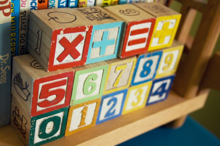 kids colorful learning building blocks in numerical order