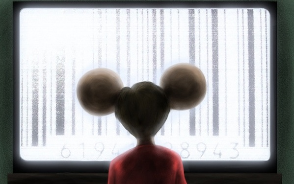 mouse staring at a large barcode