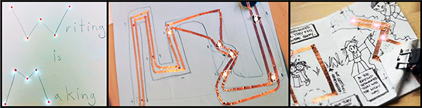 paper with circuitry and lights