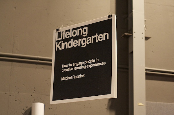 lifelong kindergarten sign hanging from ceiling quote by Michel Resnick