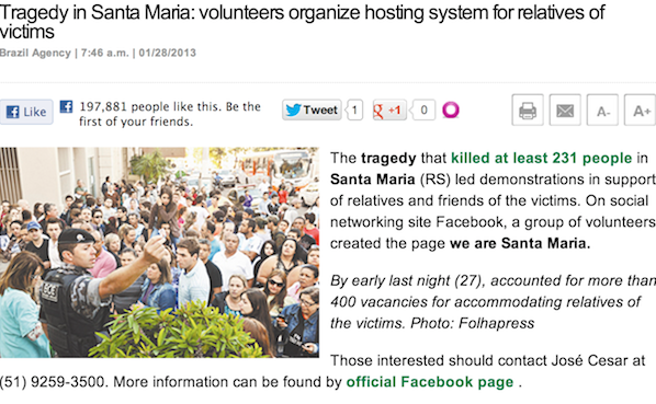 Webpage for Santa Maria killing article about volunteers supporting victims relatives