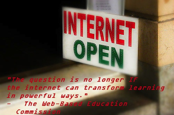 internet open sign with quote from web-based education