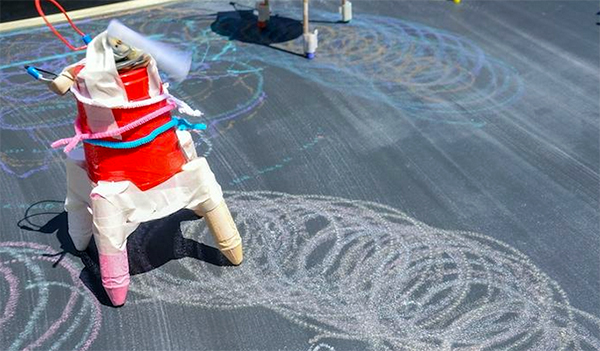 scribble bot made of cups tape chalk making chalk drawings